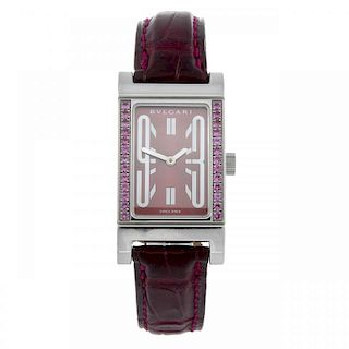 BULGARI - a lady's Rettangolo wrist watch. Stainless steel case with a row of factory set pink stone