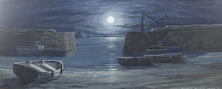 A large collection of paintings, prints and textiles, to include a framed gouache study of a moonlig