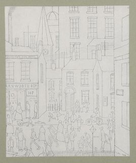 L.S. Lowry (1887-1976) (after), 'Street Scene', from a limited edition of 550 copies, unsigned monoc