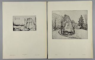Part of a portfolio of etchings by Edvard Munch (1863-1944), printed by J. Chr.Gundersen, published