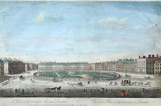 Thomas Bowles, A View of Grosvenor Square, London; The South West Prospect of London coloured engrav