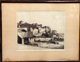 William Strang (Scottish, 1859-1921) Study of San Martin's Bridge, Toledo, 26.5 x 30 cm; and View ov