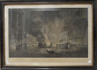 Hellyer after Thomas Whitcombe, Battle of the Nile, engraving, published, 1806, by R. Bowyer, 48.5 x