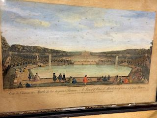 Robert Sayer (publisher)  Three coloured engravings of French chateaux gardens, including Versailles