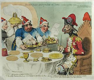 Six coloured satirical cartoons Dumourier dining in State at St James's, on the 15th of May 1793, et