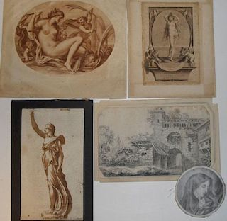 A box of various antique prints and old master style drawings to include: an indistinctly signed pen