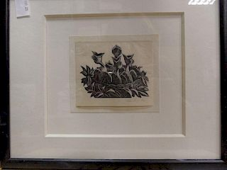 Claire Veronica Hope Leighton (1898-1989), A Nest of Hedge Sparrows ('Four Hedges' series 1935), woo