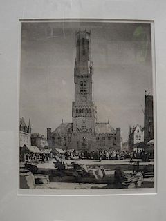Malcolm Osborne, RA (British, 1880-1963) Bruges, aquatint, signed in pencil lower right 34 x 26½cm (