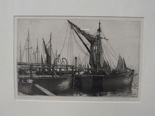 Donald Plenderleith (1921-2005), Burnham on Crouch, etching, pencil signed lower right, 17.5 x 27.5