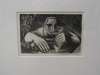 Leon Underwood, Caesar and the Slave, wood engraving, 1925, 11 x 16 cm (plate), signed in pencil <br