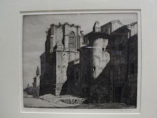 Ian Strang, San Gil, Burgos, drypoint etching, 1927, signed in pencil lower right, 22 x 27.5 cm (pla