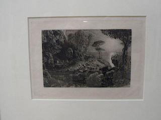 Samuel Palmer (1805-1881), Moeris and Galatea, etching, c. 1880, 23.5 x 19 cm (plate) <br> <br>