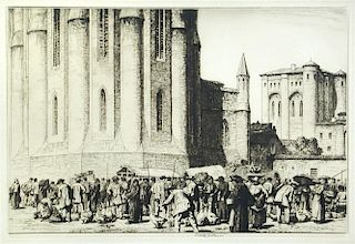 Stanley Anderson, The Goose Fair, Albi, drypoint etching, 1927, edition of 75, 23 x 34 cm (plate), s