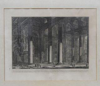 Piranesi  Veduta Interna del Pronao del Panteon, engraving with wide margins, 49 x 63cm;  Reliquiae