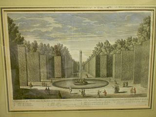 Baquoy after Girard,  A pair of coloured engravings of Versailles Gardens, published by Mortain, lat