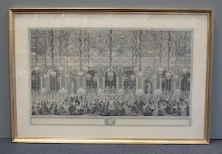 Versailles, Galerie des Glaces, historical banqueting scene, engraving, late 19th century, 46.5 x 76