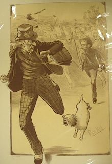 Collection of loose prints and engravings, caricatures and figures studies, some coloured, also Bate