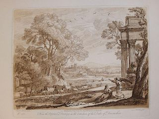 Collection of loose engravings, including architectural details, few classical figures after old mas