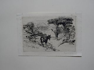 Sir Francis Seymour Haden (British, 1818-1910) Donkey in a landscape; Continental landscape with bui