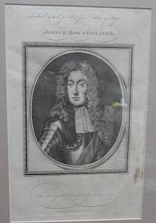 Set of four 18th century engraved royal portraits to include 'Charles II. King of England', by Isaac