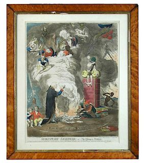 James Gillray (1756-1815) Shakespeare Sacrificed or The Offering to Avarice, coloured etching with a