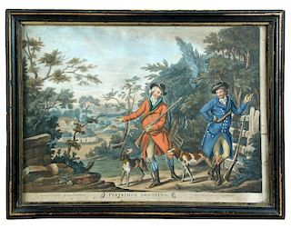 Partridge Shooting, hand coloured mezzotint with gouache in period frame, possibly after Drake, prin