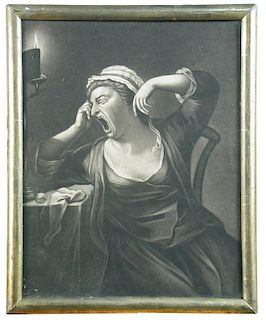 Pair of 18th century mezzotints, to include The Drowsy Dame and The Studious Yawner, published by Ro