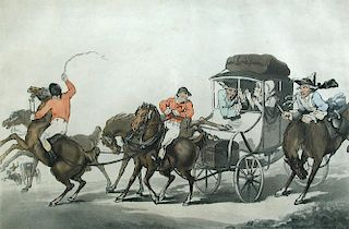 Thomas Rowlandson (1756-1827), English Travelling or The First Stage from Dover, coloured etching an
