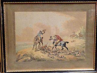 Samuel Howitt (1756-1822), Fox Hunting, set of six aquatints trimmed to image, 7.7 x 24 cm (6) <br>