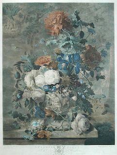 Richard Earlom (1743-1822) after Jan van Huysum (1682-1749),  A Flower Piece, a hand-coloured mezzot