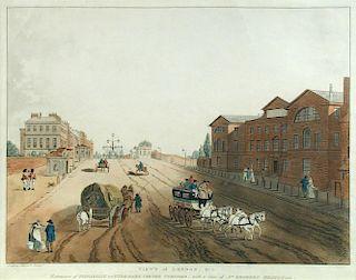 Dagaty (possibly Edouard Gautier d'Agoty, 1745?-1784) Views of London, pair of handcoloured aquatint