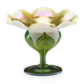TIFFANY STUDIOS Floriform Favrile glass compote