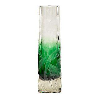 MOSER (Attr.) Wheel-carved glass vase