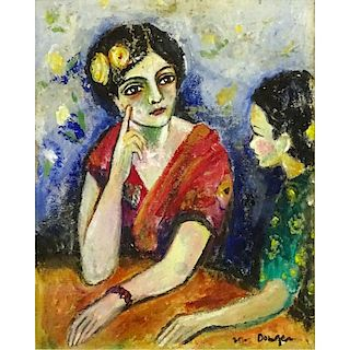 """attributed to Kees van Dongen, Dutch (1877-1968) Gouache on paper """"Mother and Daughter""""."""