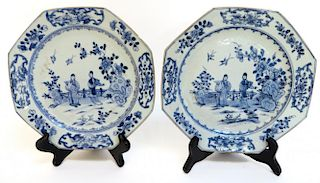 Pair Of Blue & White 18th C. Export Plates