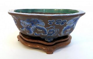 Antique Yixing Enamel Planter With Stand