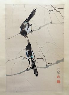 Chinese Watercolor Of Two Perching Birds
