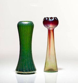 Bohemian Iridescent Art Glass Vases
