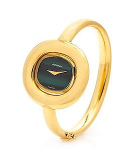 An 18 Karat Yellow Gold Bangle Wristwatch, Juvenia, 29.30 dwts.