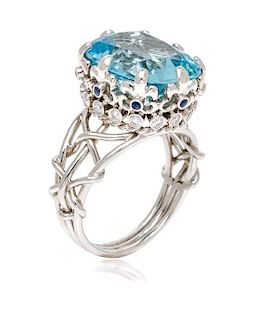A Platinum, Aquamarine, Diamond and Sapphire Coronet Ring, Verdura, 8.00 dwts.
