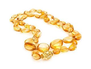 An 18 Karat Yellow Gold and Citrine Bead Necklace, Verdura,