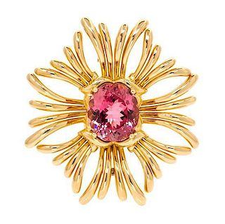 An 18 Karat Yellow Gold and Pink Tourmaline Ray Brooch, Verdura, 32.90 dwts.