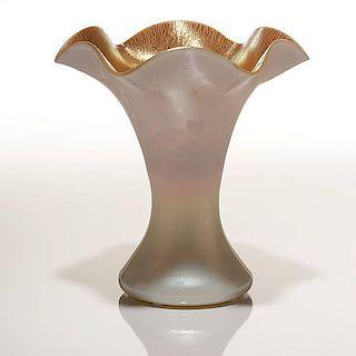 Steuben Aurene and Calcite Ruffle Vase