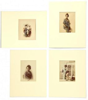 4 Japanese Meiji Period Hand Colored Photographic Prints