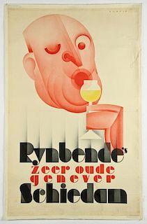 Vintage Johannes Romein for Rynbende's Genever Advertising Poster
