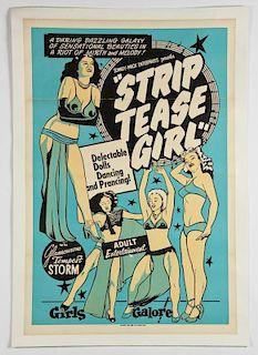 Vintage 1952 Strip Tease Girl Movie Poster.