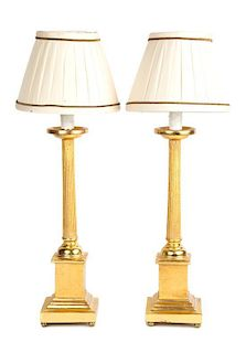 A Pair of Empire Style Giltwood Table Lamps Height 20 inches.