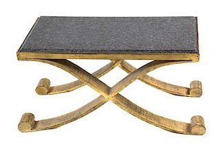 A Pair of Neoclassical Style Marble-Top Gilt Bronze Low Occasional Tables Height 13 1/2 x width 26 1/2 x depth 17 inches.