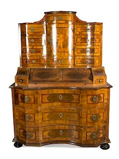 A German Parquetry Secretary Desk Height 79 x width 26 1/2 x depth 26 inches.