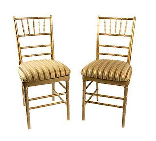 A Set of Twenty Gilt Painted Wood Side Chairs Height 36 inches.